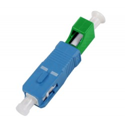 Hybrid adapter SC/UPC male- LC/APC female, simplex, SM